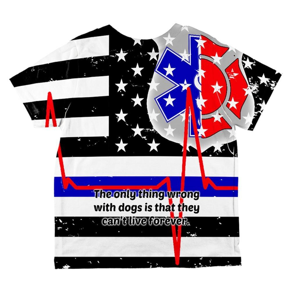 Firefighter EMT Dalmatian Live Forever Thin Red Line Flag All Over Toddler T Shirt