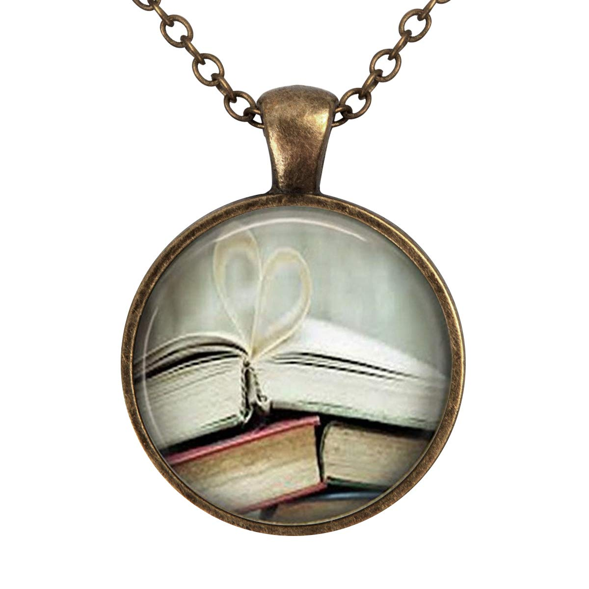 Book Page Librarian Bibliophile Book Lover Art Vintage Pendant Necklace Vintage Bronze Chain Statement Necklace Handmade Jewelry Gifts