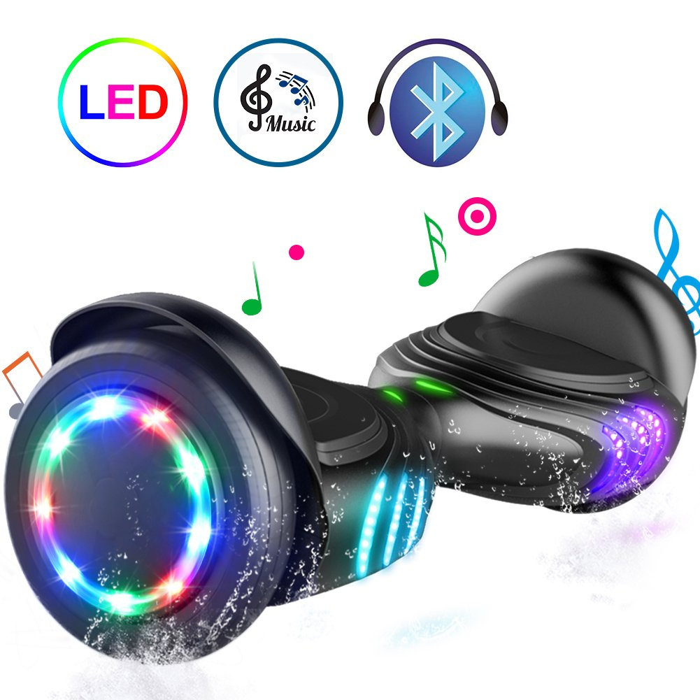 TOMOLOO Hoverboard with Bluetooth Speaker and Colorful LED Lights Self-Balancing Scooter UL2272 Certified 6.5'' Wheel for Adults and Child by TOMOLOO