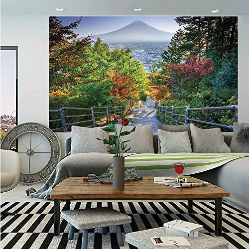 - SoSung House Decor Wall Mural,Stairway to Mt. Fuji Fujiyoshida Japan Tourist Attractions Landmark Scenery Picture,Self-Adhesive Large Wallpaper for Home Decor 55x78 inches,Green Gray