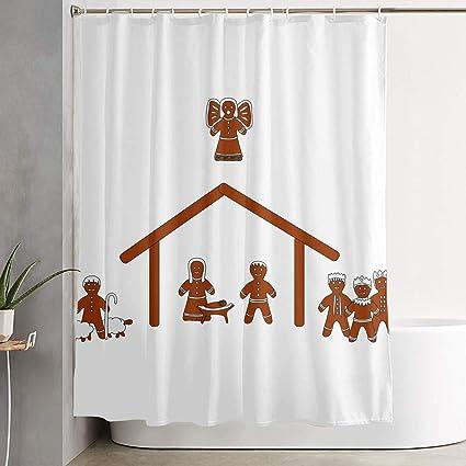 Christmas Nativity Manger Scene Gingerbread Bathroom Shower Curtain Decorative Toilet Celebrate Ornament Picks Set Prints Themed