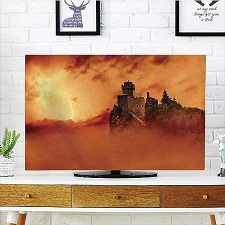 Cubierta de Polvo para televisor LCD, Naturaleza, Margarita, Flores, Pradera con Fondo de árbol en Niebla ECP Jardín Botany Fresh Scenery, diseño de impresión 3D Compatible con TV de 32 Pulgadas: Amazon.es:
