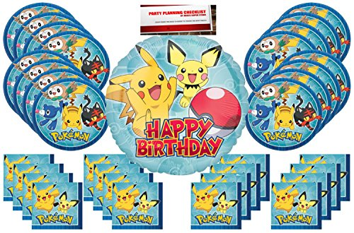Pokemon Pikachu Party Supplies Bundle Pack for 16 (Bonus 17 Inch Balloon Plus Party Planning Checklist by Mikes Super Store)