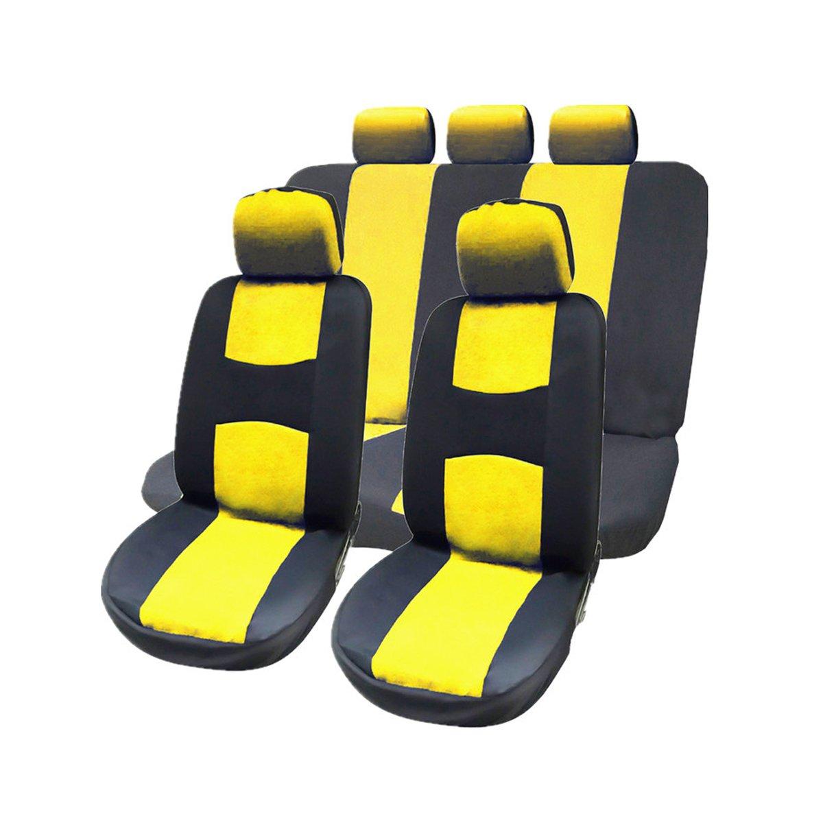 WINOMO 9 piezas de conjunto completo fundas de asiento de coche con reposacabezas desmontables Fundas de banco dividido interior ajuste universal amarillo