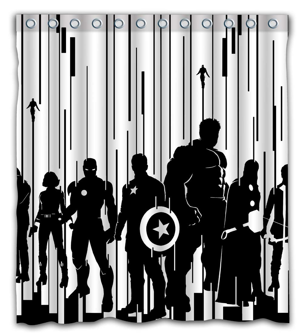 Patwee Cool Black and White Strip Design Shower Curtain Waterproof Fabric for Bathroom Decoration (66x72Inches)