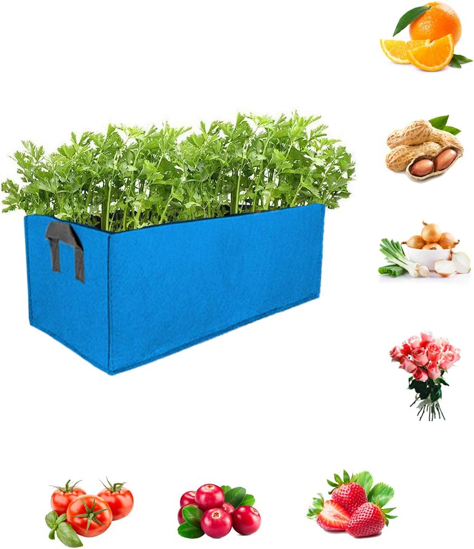 Eco-Friendly Rectangle Felt Grow Bag Outdoor Indoor Garden Growing Pot Breathable Planting Container for Flowers Vegetables Tomatoes Potatoes Tray Fabric Planting Bag