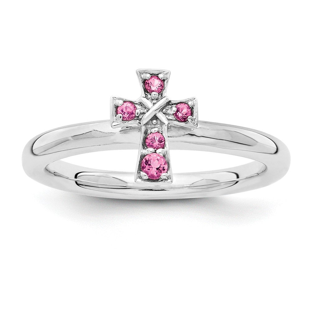 Top 10 Jewelry Gift Sterling Silver Stackable Expressions Rhodium Pink Tourmaline Cross Ring