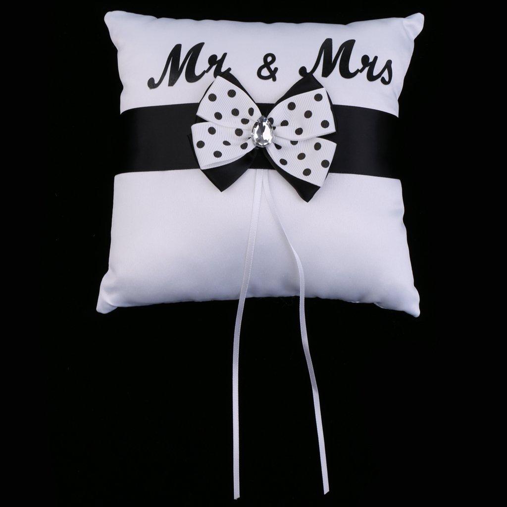 MagiDeal C/ér/émonie Oreiller /à Noeud de Papillon Coussin Alliance Mr et Mrs Strass Accessoire Mariage 20 x 20 cm Blanc Noir