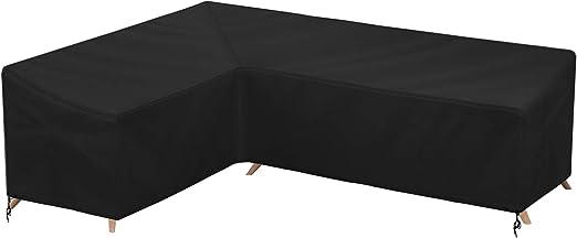 LEESITEC Coperture per divani da giardino,Copertura Protettiva Divano angolare,Forma di L Coperture per Mobili da Giardino,Coperture per arredo Giardino,resistente allacqua 192 x 260 x 82 cm-nero