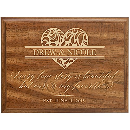 Anniversary Gifts Family Year Established Signs Custom Engraved Names with Date Every Love Story Is Beautiful but Ours Is My Favorite By Dayspring Milestones (Walnut, 9x12) (Established Date Plaque)