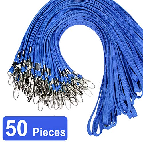 Blue Bulk Lanyard Swivel Hooks Clips Cotton Neck Flat Woven Black Lanyards with Clip for Id Badges Key Chains,Lanyards 50 Pack 32-inch (Skin Id 32)