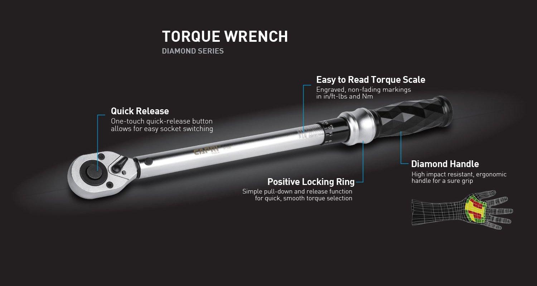 Capri Tools 3//8-in 10-80 ft-lbs Torque Wrench Diamond Contour Ergonomic Grip Dr