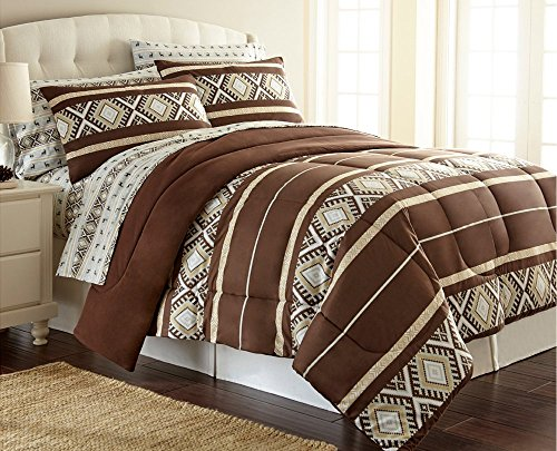 Shavel Home Products Comforter Mini Set, King/Cal-King, Reindeer Stripe, California (Flannel Mini Comforter Set)