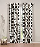 Pair of Allie Faux Linen with Flocking Window Panels w/Grommets Taupe/Black For Sale