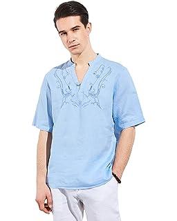 a35f6d7e105f UAISI Herren Langarm Leinen Business Casual Hemd  Amazon.de  Bekleidung