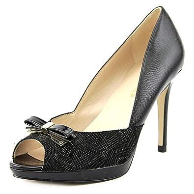 Marc Fisher Womens Marsha Leather Peep Toe Classic Pumps Black Multi Size 10.0