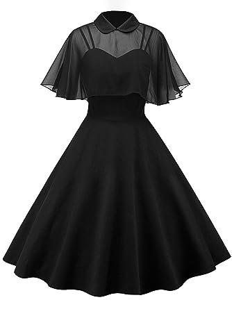 JapanAttitude Robe Noire avec boléro Voile Transparent et col, rétro Vintage  élégant Chic  Amazon.fr  Vêtements et accessoires 7c5ba875b0f9