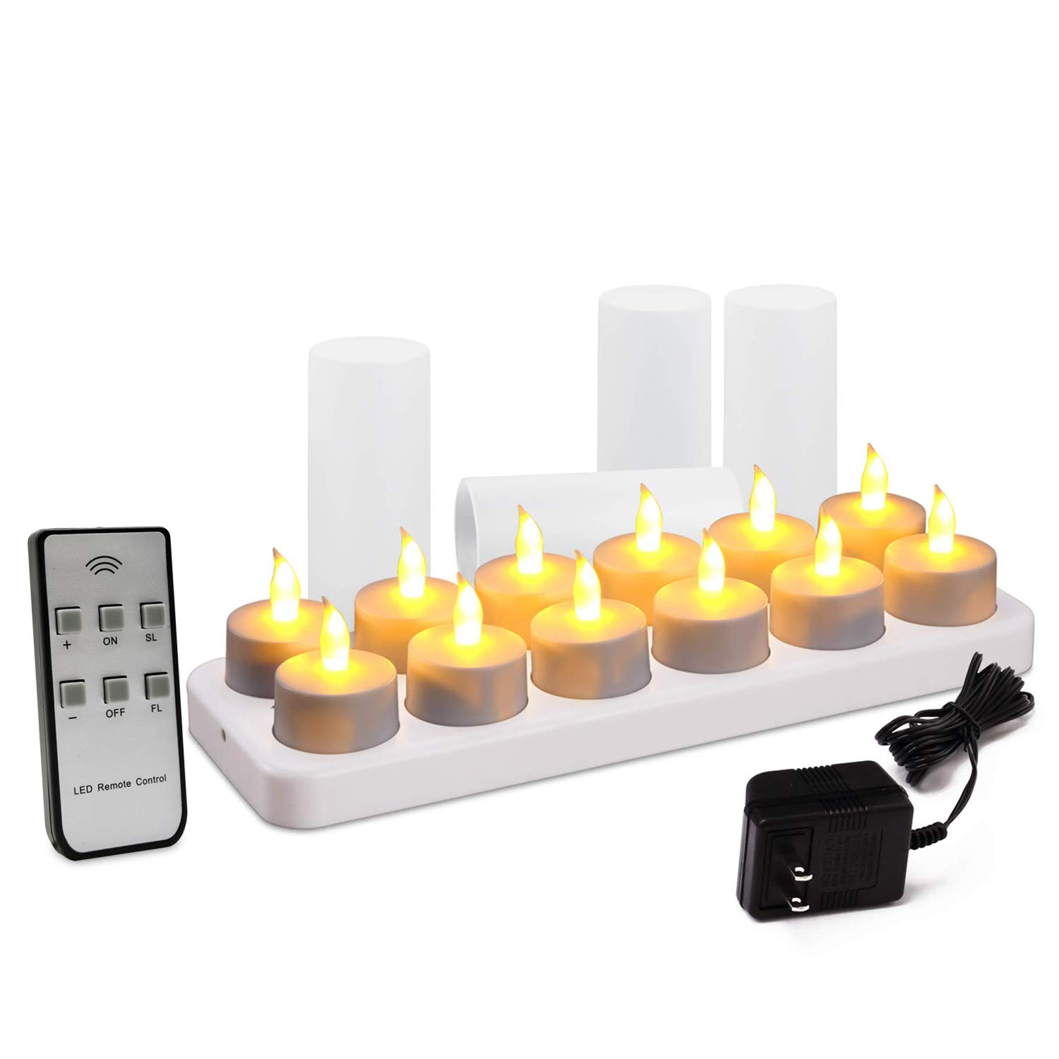 Flameless Tealight LED Candle with Rechargeable Base and Frosted Holder, Remote Timer Control, White Set of 12 by Aglary