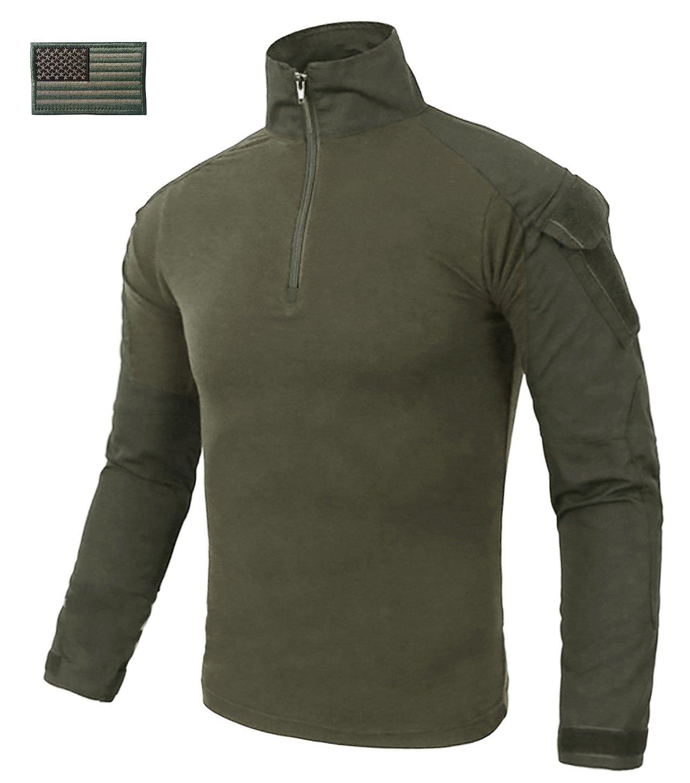 CRYSULLY Men Spring Long Sleeve Army Cotton Shirts Hunting Military Trekking Hiking Shirts Outwear Army Shirt Green