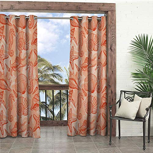 (Linhomedecor Garden Waterproof Curtains Coral Nautical Marine Sea Mix Collection Seahorse Shells and Starfish Ocean Summer Theme Salmon pergola Grommet Free Curtain 72 by 72 inch)