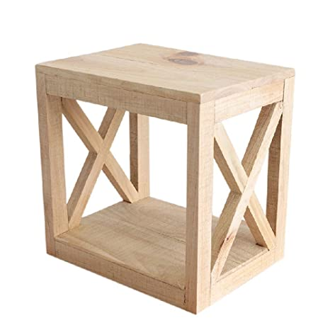 Amazon.com: Mesa auxiliar de madera maciza NFurniture con ...