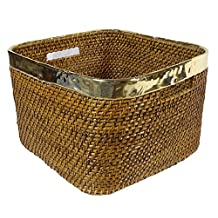 Square Laundry Basket Wooden Wicker Hand Woven Cane Baskets With Metal Fencing