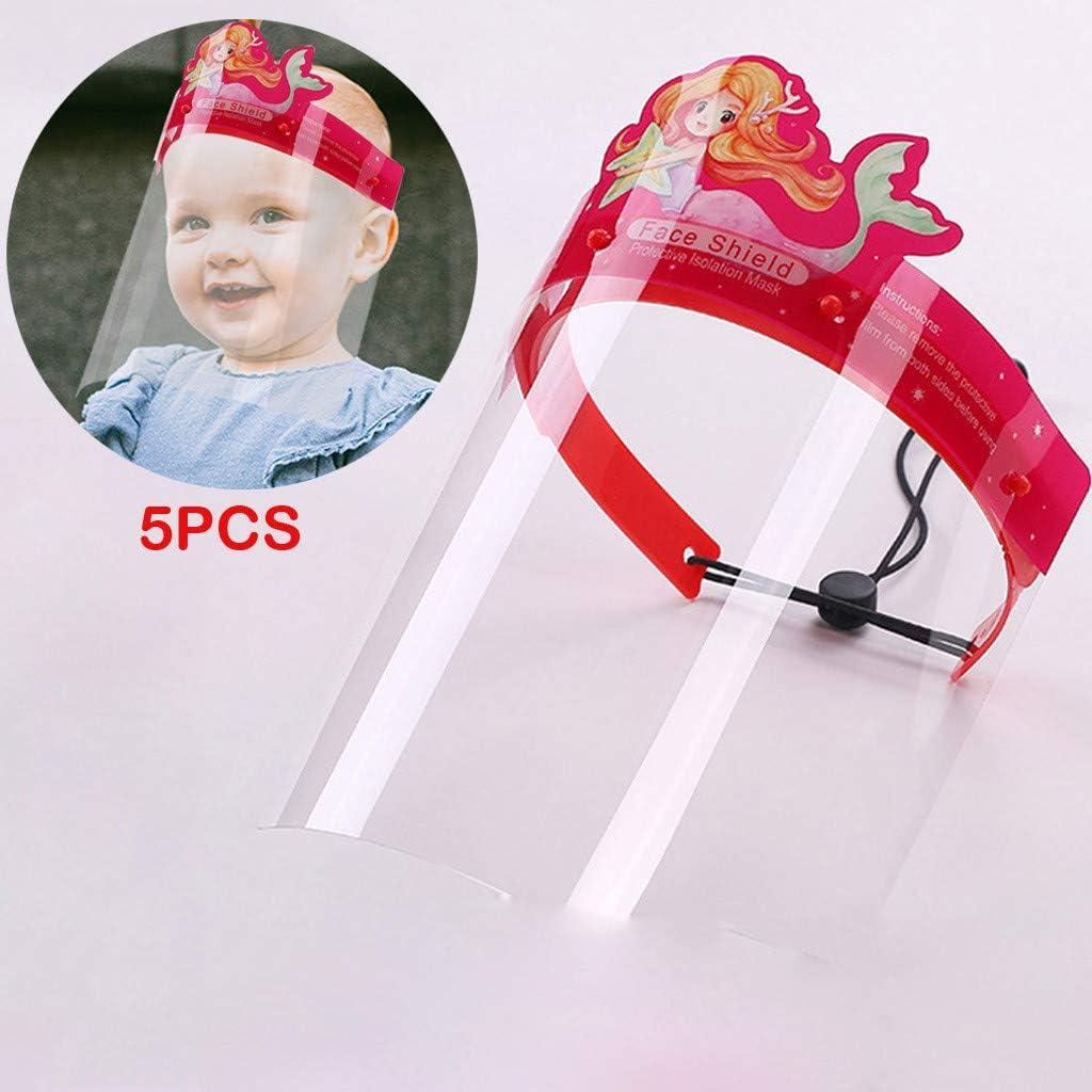 Lightweight Transparent Safety Face Protective Full Face Covering with Elastic Band for Children 5Pcs Kids Face S̲h̲i̲e̲l̲d̲