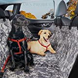 Plush Paws Cover Waterproof 2 Bonus Pet Car Seat Belts and 2 Harnesses Hammock, Side Flaps Anchors Non Slip Silicone Quilted Machine Washable Cars Trucks, SUV and Vehicles, Navy Camo