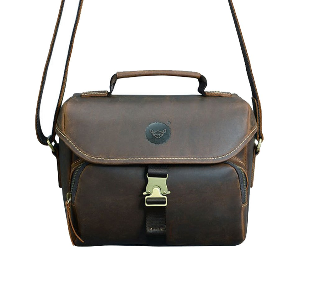 Genda 2Archer Genuine Leather Vintage Waterproof Camera Case Cross-body Shoulder Messenger Bag Coffee by Genda 2Archer