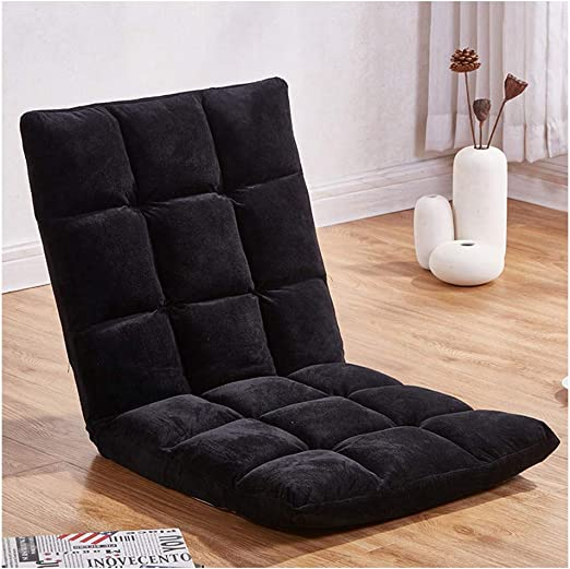 Foldable Gaming Sofa Chair with Adjustable Back Bleachers Lazy Cushioned Recliner Black Bed Reading for Meditation Couch Mostbest Padded Floor Chair Stadium