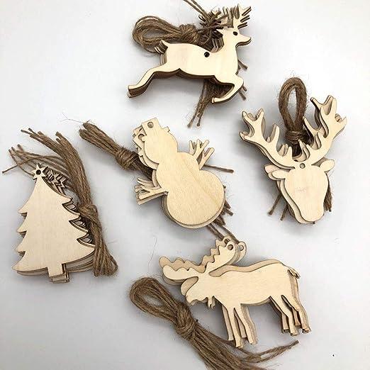 50x Weihnachten Holz Schneeflocken Verzierung Baumschmuck Dekorationen