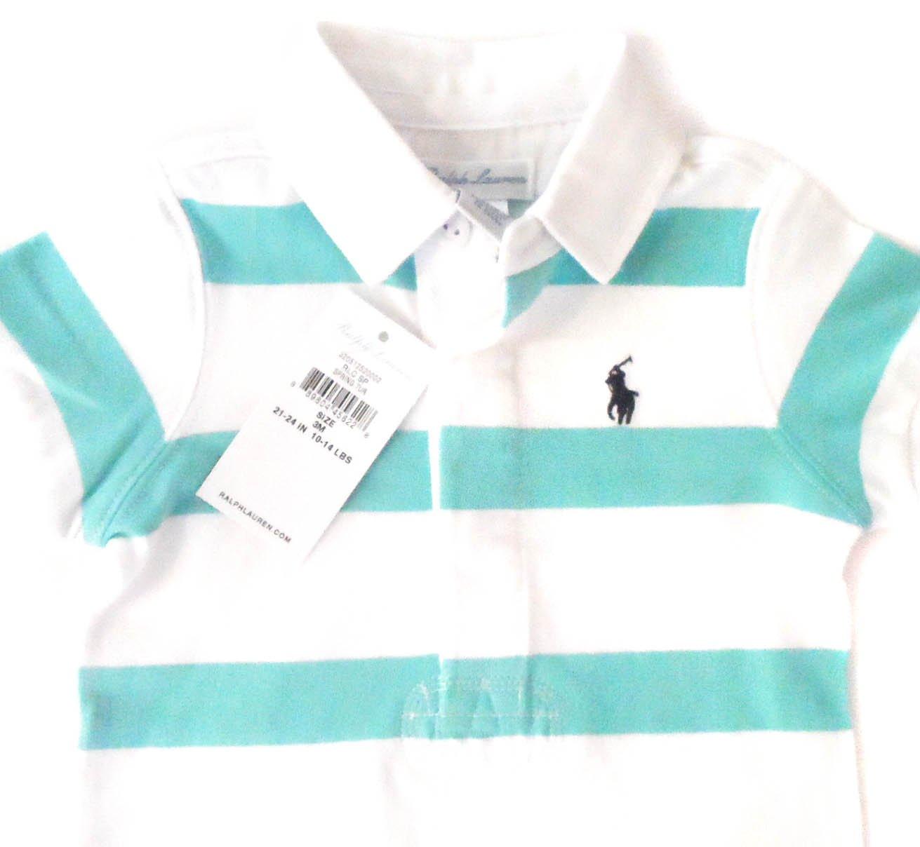 New Genuine Ralph Lauren bebé niños rayas Shortall 20002 - Babygrow Pelele - Muelle Turquesa turquesa Talla:3 meses: Amazon.es: Bebé