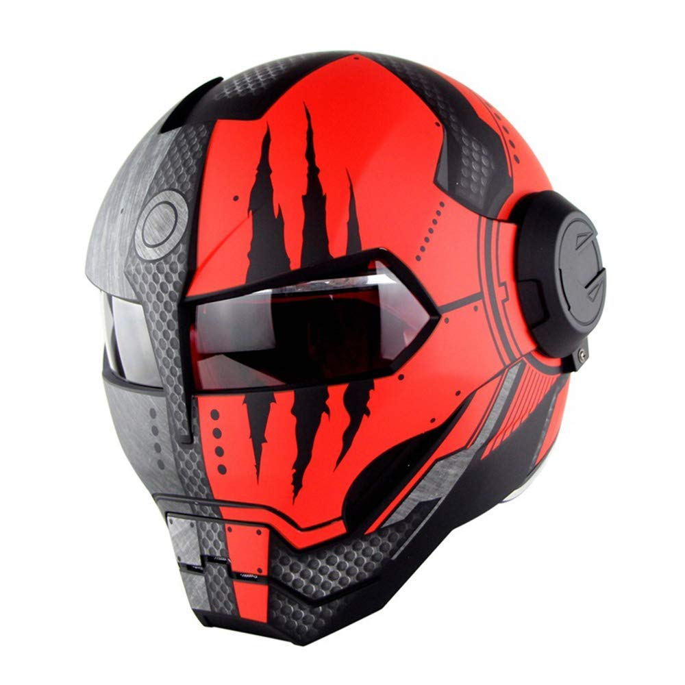 Casque int/égral de Moto Casque de Style r/étro Iron Man Transformers Harley Certification Dot Sprite Mat, L