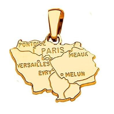 So Chic Joyas - Colgante tarjeta Ile de France goldplattiert ...