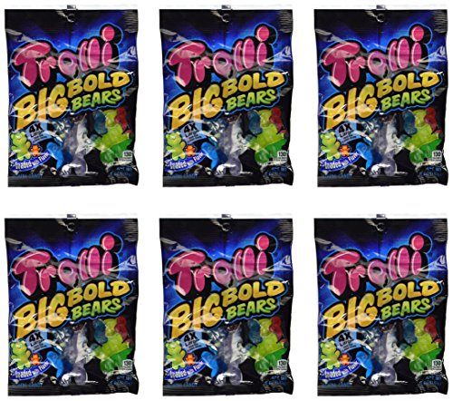 Trolli Gummi Bears (Trolli, Big Bold Bears, Gummi Candy, 5oz Bag (Pack of 6))