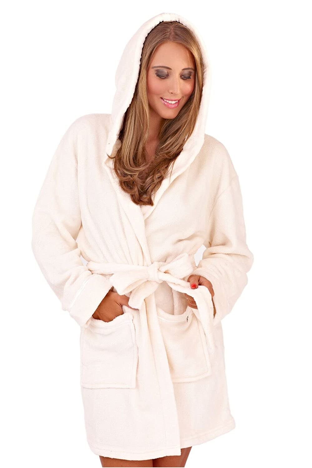 Womens Luxury Soft Snuggle Hooded Short Bath Robe Cream Large at ...
