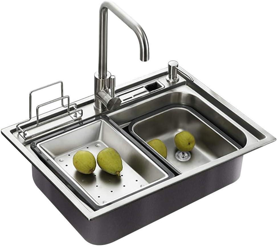 HomeLava Moderne Einbauspüle Edelstahl Spülbecken Eckig für Küche
