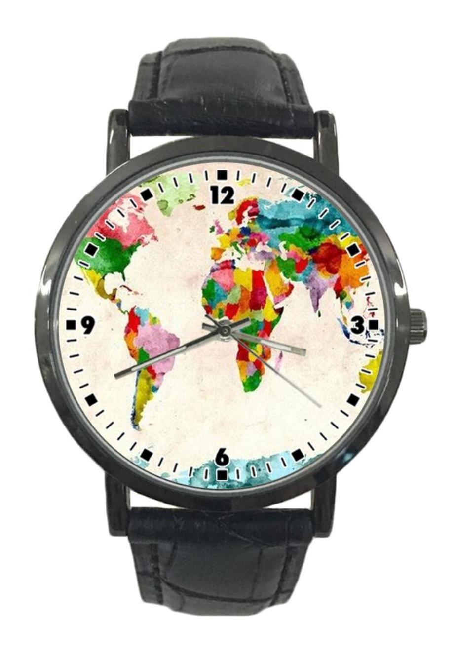 jkfgweeryhrt New Simple Fashion World Map Stainless Steel Leather Analog Quartz Sport Wrist Watch