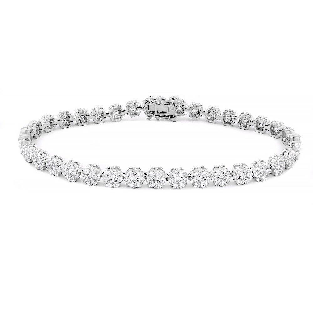Evan Jewels, EV3-3032 925 Sterling Silver Flower Tennis Bracelet 7 1/2'' (Silver)