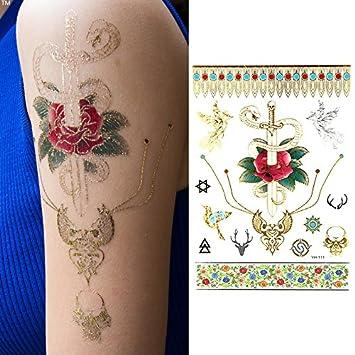 Oottati Tatuajes Temporales Dorados Metalicos Purpurina Rose Bird ...