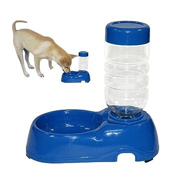 idepet mascotas perro gato dispensador de agua, Gravity automática dispensador de agua Brunnen Waterer Juego de Tazones con botella para pequeñas ...