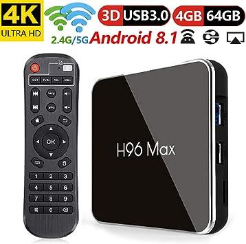 LQQZZZ Android 8.1 Receptor De TV, Quad-Core 4 GB 64 GB Amlogic Smart TV Box H.265 4K 5 GHz WiFi BT USB3.0 Set-Top Box Set: Amazon.es: Electrónica
