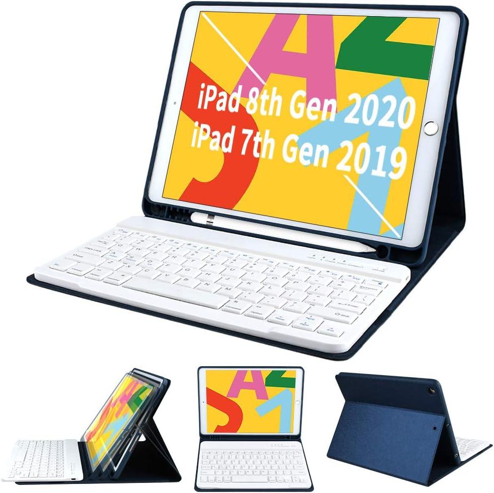 Funda con Teclado para iPad de 7ª generación 2019 para iPad de 10,2 Pulgadas - COO Teclado Bluetooth inalámbrico Desmontable - Soporte para lápiz ...