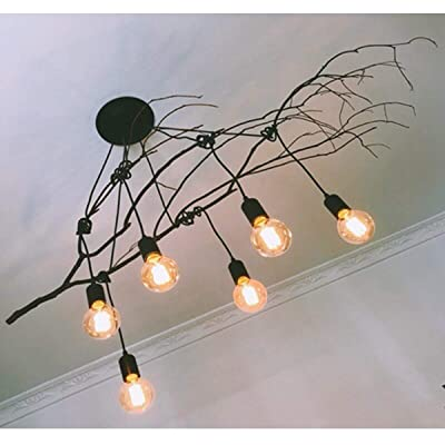 E27 Vintage Retro Ceiling Light Lamp Chandelier Spider Pendant 6 Heads UK Stock