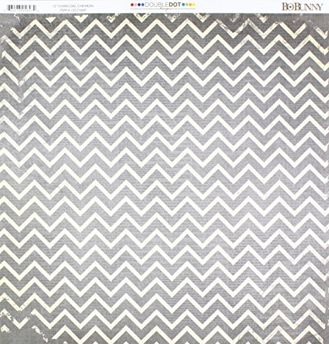 Bo Bunny DD Double Dot Paper 12x12 Chevron Charcoal -
