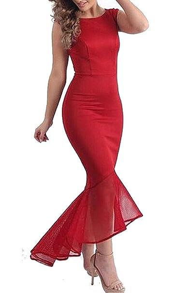 Queen Diana Donna Senza Maniche Sera Cocktail Festa Vestito Formale Ballo  Di Fine Aanno Tulle Sirena Bodycon Abiti (Rosso 962e041281d