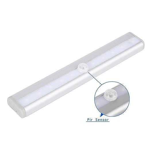 Barra de Luz 10 LED Armario, Home&Life Luz LED Con Sensor de Movimiento para Closet Gabinete, Armario, Escalera luz de La Noche: Amazon.es: Iluminación