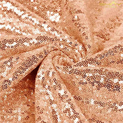 ShinyBeauty Sequin Fabric by The Yard 12 Feet 4 Yards Sequin Fabric by Yard Rose Gold Sequin Fabric Material for Sewing Tablecloth Linen Sequin Tablecloth Table Runner Photo Booth Backdrop ()