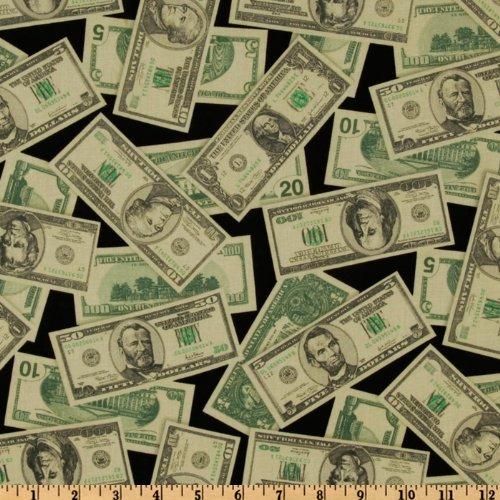 Robert Kaufman Pleasures & Pastimes Money Black/Green Fabric by The Yard, Black/Green Kaufman Fabrics EO-042