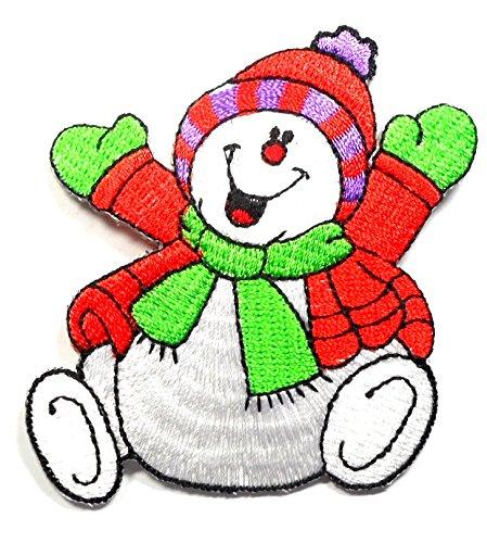 【ノーブランド品】アイロンワッペン ワッペン キュート・ハート 刺繍ワッペン スノーマン アイロンで貼れるワッペン